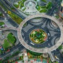 The circular walkway in Shanghai's Pudong the financial district, China