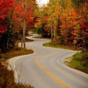 Winding road in Door County, Wisconsin, USA