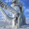 Frozen Lighthouses in Lake Michigan