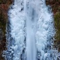 Frozen Multnomah Falls, Oregon, USA