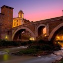 Ponte Fabricio bridge was built in 62 BC, Rome, Italy