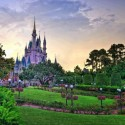 The Disney World Castle at Sunset, Florida, USA