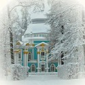 Blue Victorian in Snow