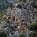 Rock-cut tombs in Myra , An ancient town in Lycia , Turkey