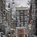 Snow in Amsterdam , Netherlands