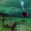 Underwater Park, Green Lake in Tragoess, Styria, Austria