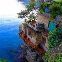 House on a cliff Cinque Terre, Italy