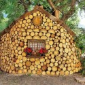 Small house with logs