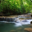 Waterfall pools in Erawan National Park , Kanchanaburi , Thailand