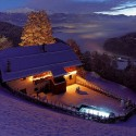Snowy Night in San Lorenzo, Mountain Lodge, Italy