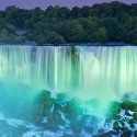 Full moon above the Niagara Falls, Ontario, Canada