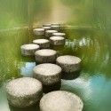 Stepping stone in the pond, Japan