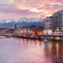Grenoble at the foot of the Alps, France