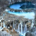 A winter view on the Plitvice Lakes in Croatia