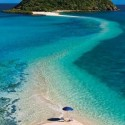 Walk from the main beach to an island, all over water, Sand bar path, Fiji