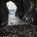 The Mermaid's Cave, located beneath Dunluce Castle, Antrim, Ireland