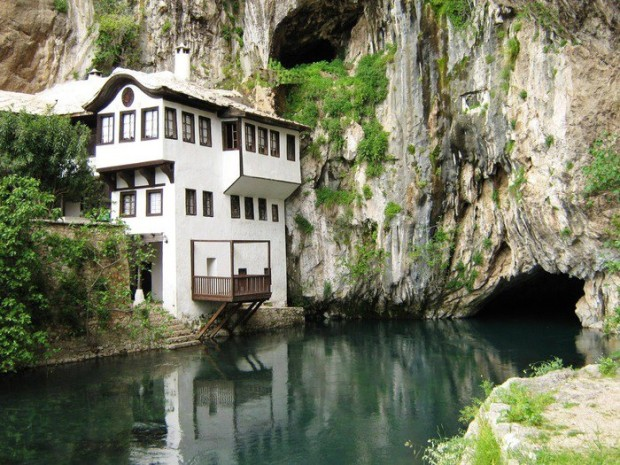 A house beside the water in Tekija Ottomane, Blagaj