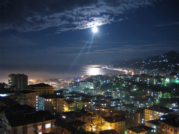 A night scene from the Black Sea Region in Rize, Turkey