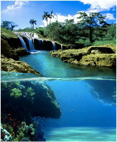 Above & under water of El Nicho Falls, Cuba