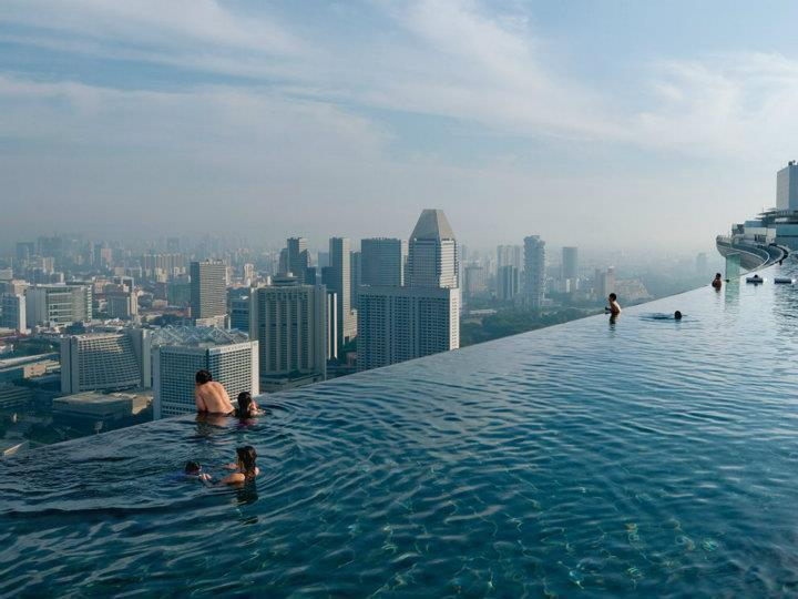 Pool on the 57th floor of Marina Bay Sands Casino In Singapore