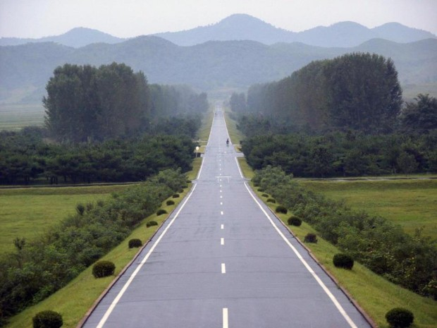 Empty road from Tomb of Tongmyong , North Korea