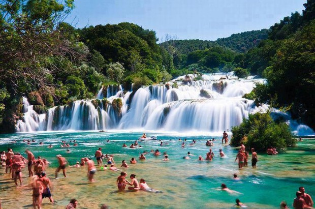 Natural Pool-Skradinski Buk-With Natural Waterfall, Krka National Park, Croatia