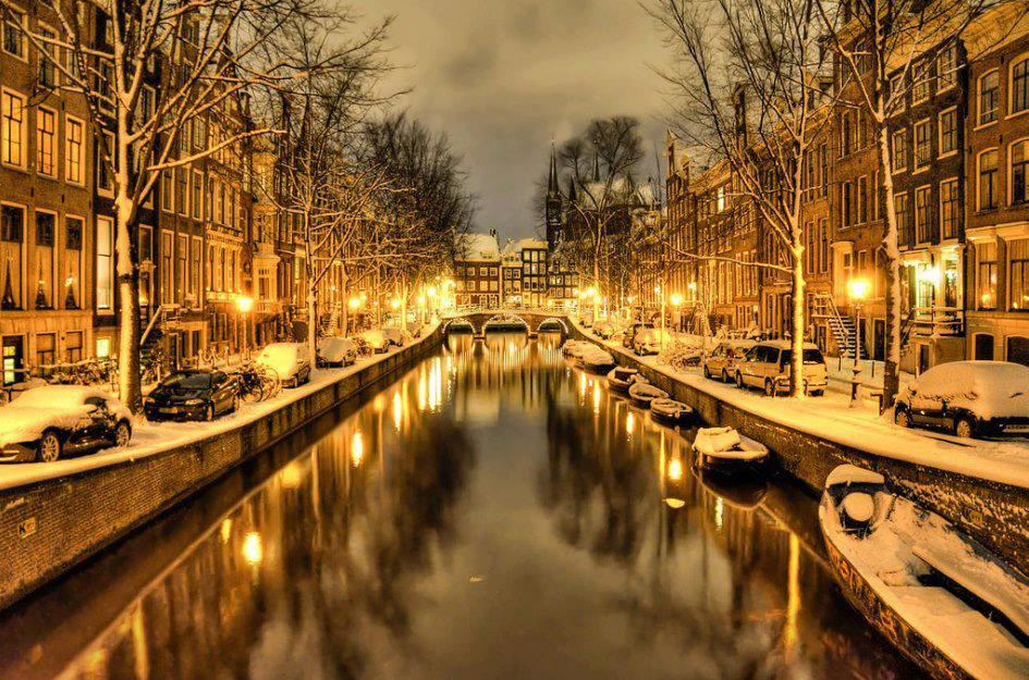 Snow in Amsterdam, The Netherlands