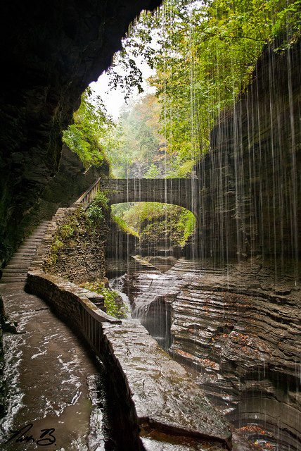 The path behind Rainbow Falls in Watkins Glen State Park, New York, USA