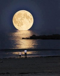 Moonset at Laguna Beach, California, USA