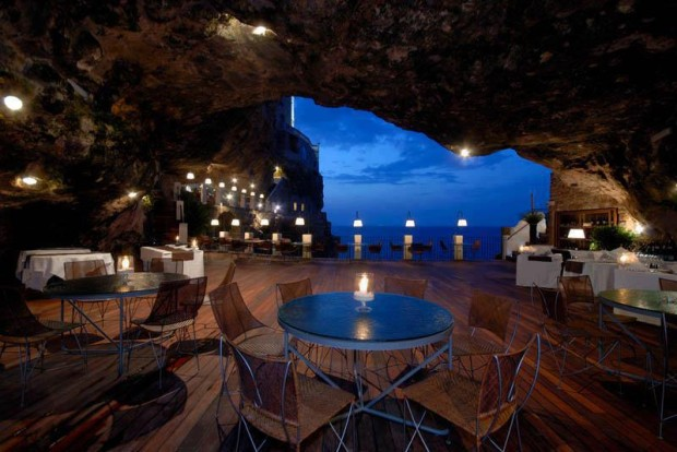 The Seaside Restaurant Set Inside a Cave , Southern Italy