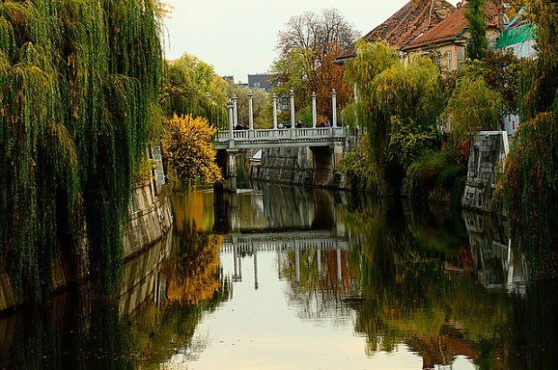 Autumn reflections in Ljubljana, Slovenia