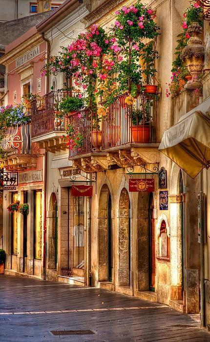 Beautiful streets, Taormina, Sicily, Italy