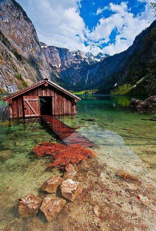 Boathouse , Obersee Lake , Germany