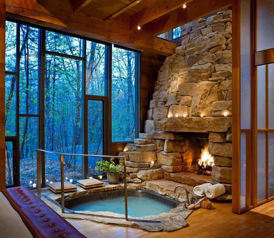 Indoor fireplace and hot tub