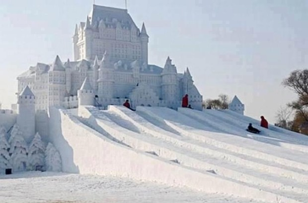 Snow castle created in Harbin snow festival , China