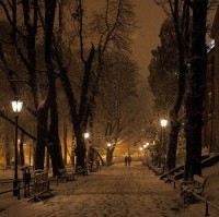 Snowy Night , Krakow , Poland