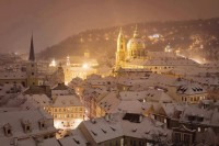 Snowy Night in Prague , Czech Republic