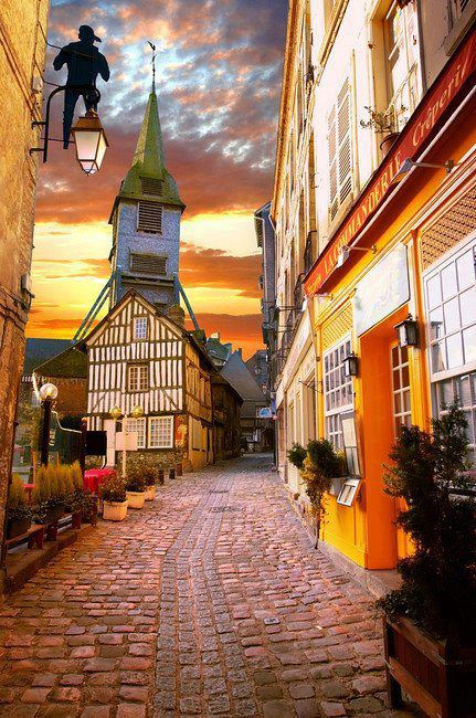 Sunset in Honfleur , Normandy , France