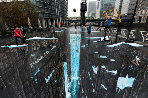 World's largest 3D anamorphic street painting in the Canary Wharf district of London, England