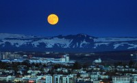 Moon over Iceland