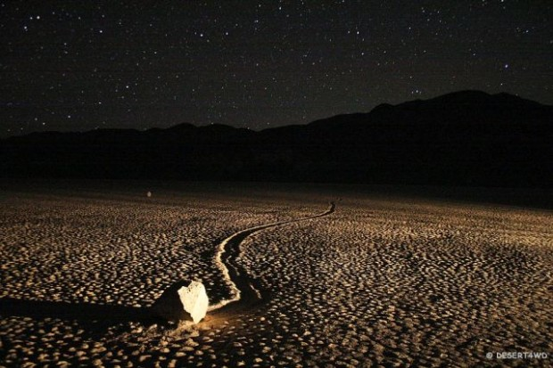 Sailing stone, Death Valley National Park, California, USA