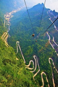 The Mountains and Winding Road in Mount Tianmen , National Forest , China