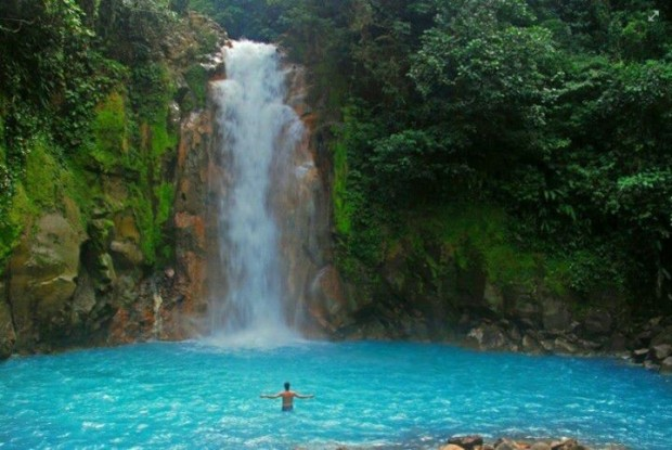 Waterfalls and Light Blue River in Costa Rica