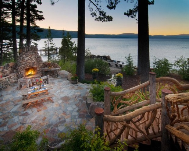 Outdoor Fireplace , Lake Tahoe , California, USA