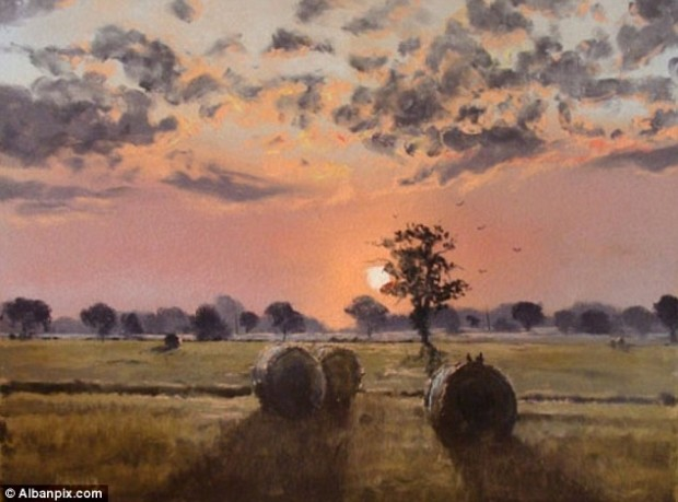 Striking sunset: The majority of Kieron's oil paintings and watercolours are of the surrounding landscapes near his home in Norfolk