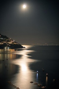 Wonderful view of the Moon in Positano , Italy