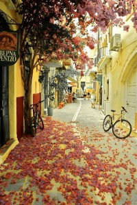 Beautiful Side Street in Chania , Crete , Greece