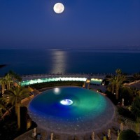 Dead Sea on a full moon night, Jordan