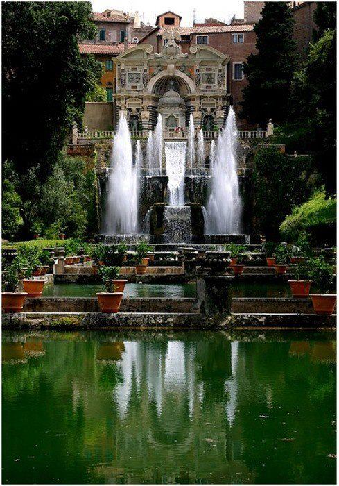 The Gardens and Fountains at Villa d'Este in Tivoli, Italy