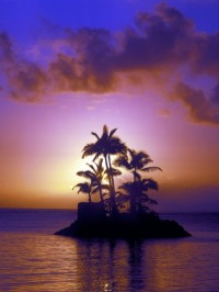 Beautiful Sunset at South Pacific, Hawaii